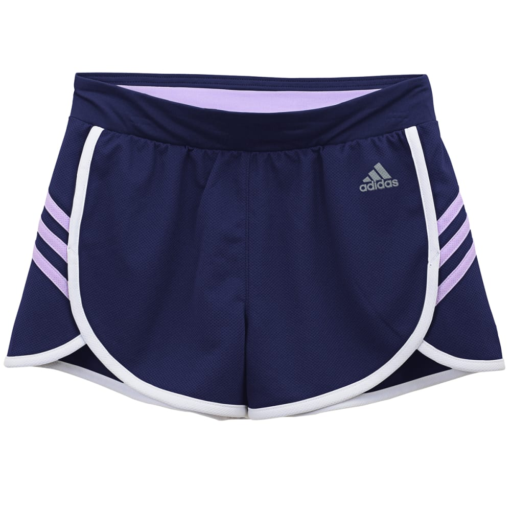 Adidas Girls Ultimate 3-Stripe Knit Shorts - Purple, S