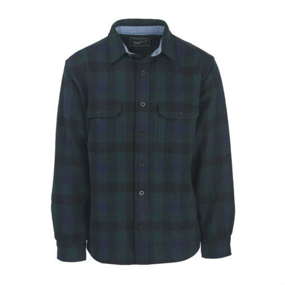 WOOLRICH Men's Buffalo Check Wool Shirt - BLUE BUFFALO