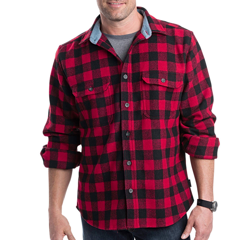 WOOLRICH Men's Buffalo Check Wool Shirt - RED/BLACK