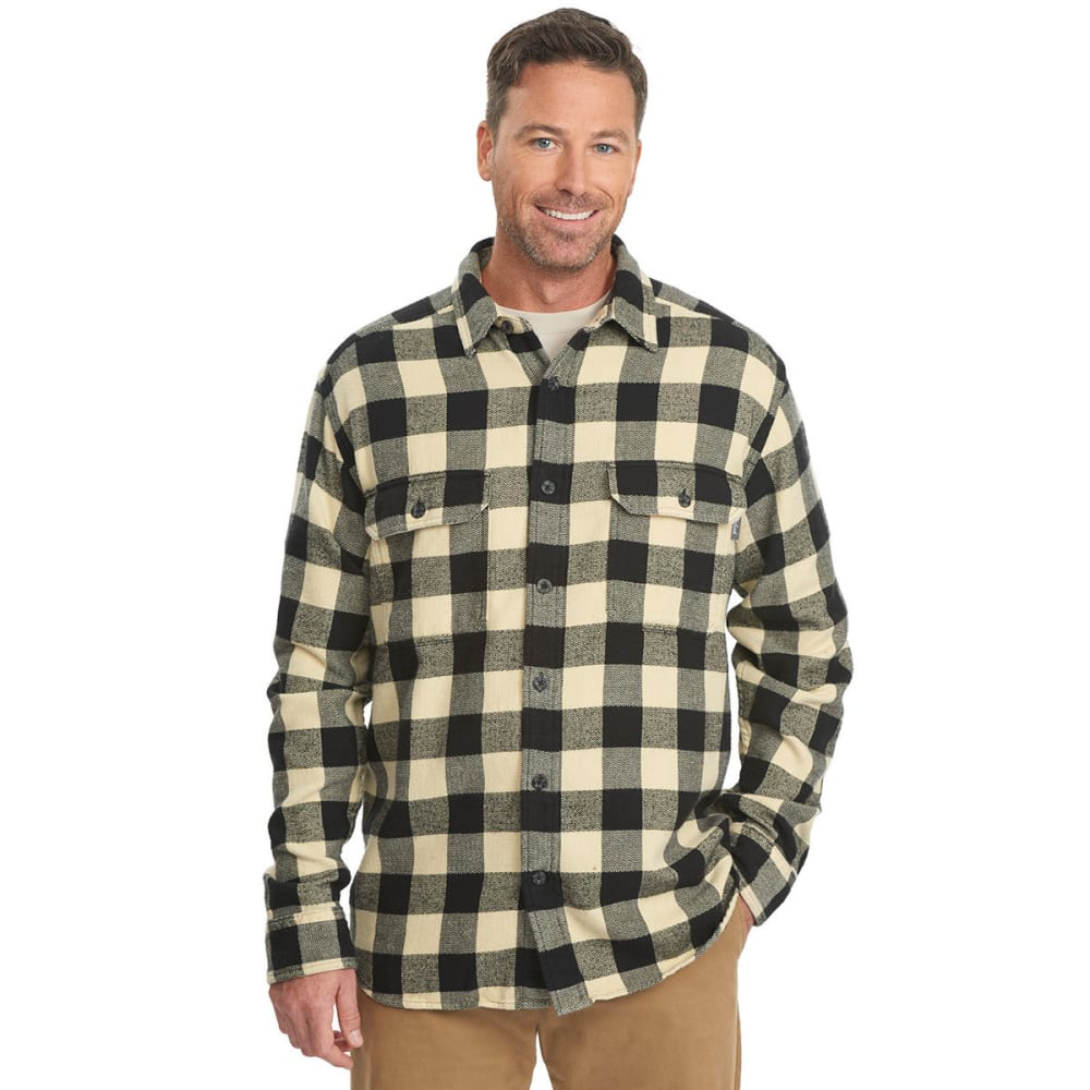 WOOLRICH Men's Oxbow Bend Plaid Flannel Shirt - BLACK BUFFALO