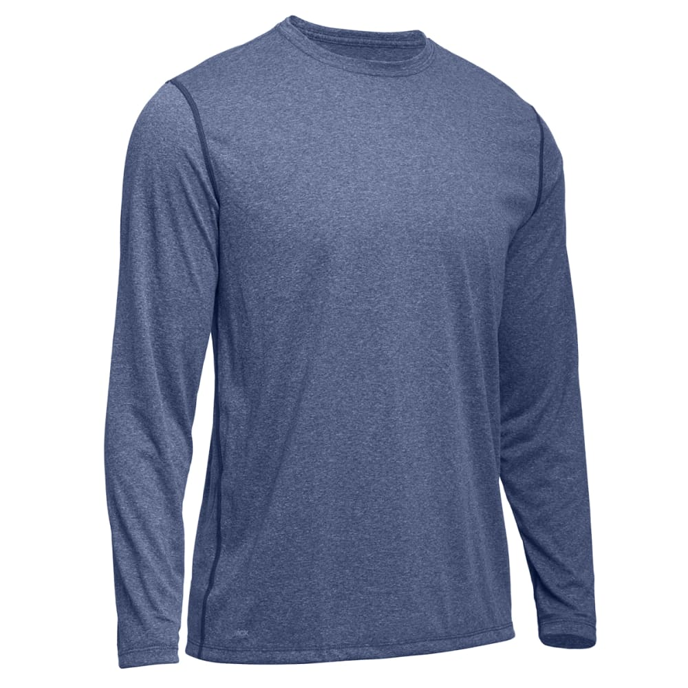 EMS Men's Techwick Essentials Long-Sleeve Crewneck Shirt - FADED ENSIGN HEATHER