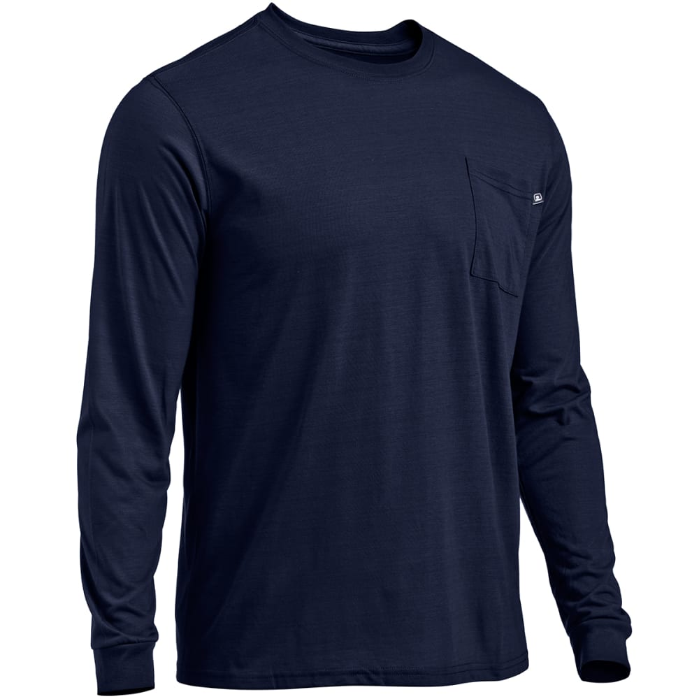 EMS® Men's Techwick® Vital Long-Sleeve Pocket Tee  - PEACOAT HEATHER