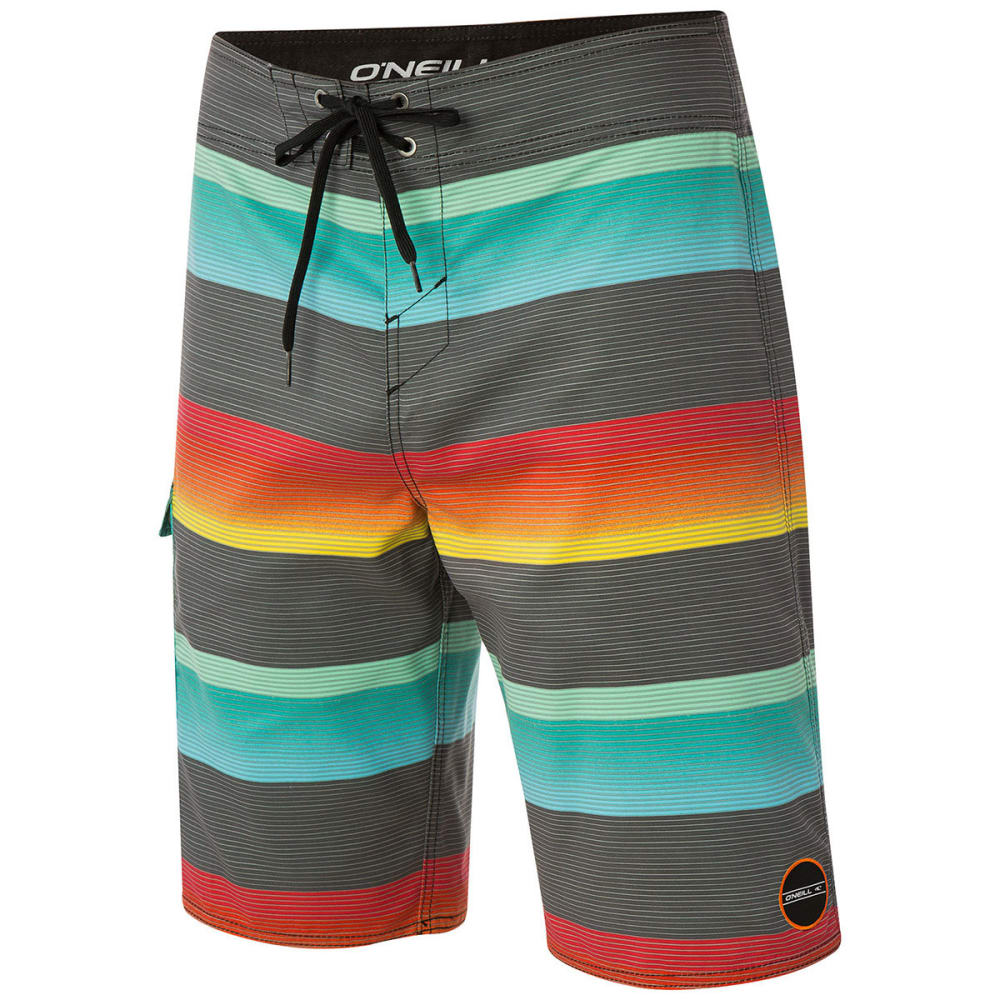O'NEILL Men's Santa Cruz Stripe Boardshorts - ASPHALT
