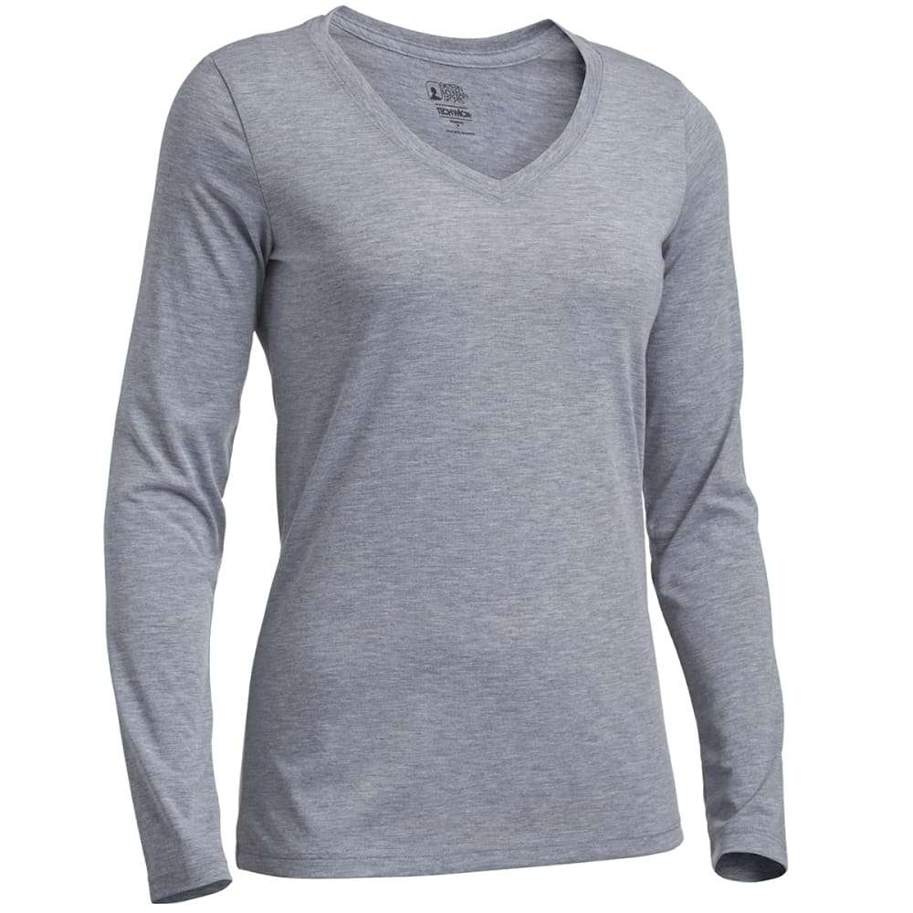 EMS Women's Techwick Vital Long-Sleeve V-Neck Tee - GRAY HEATHER