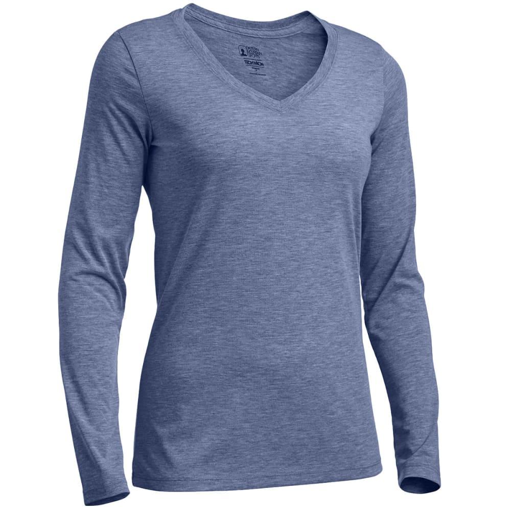 EMS Women's Techwick Vital Long-Sleeve V-Neck Tee - ENSIGN BLUE HTR