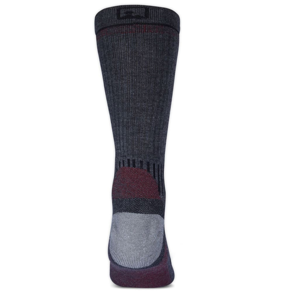 EMS® Men's Fast Mountain Lightweight Merino Wool Crew Socks, Charcoal  - CHARCOAL