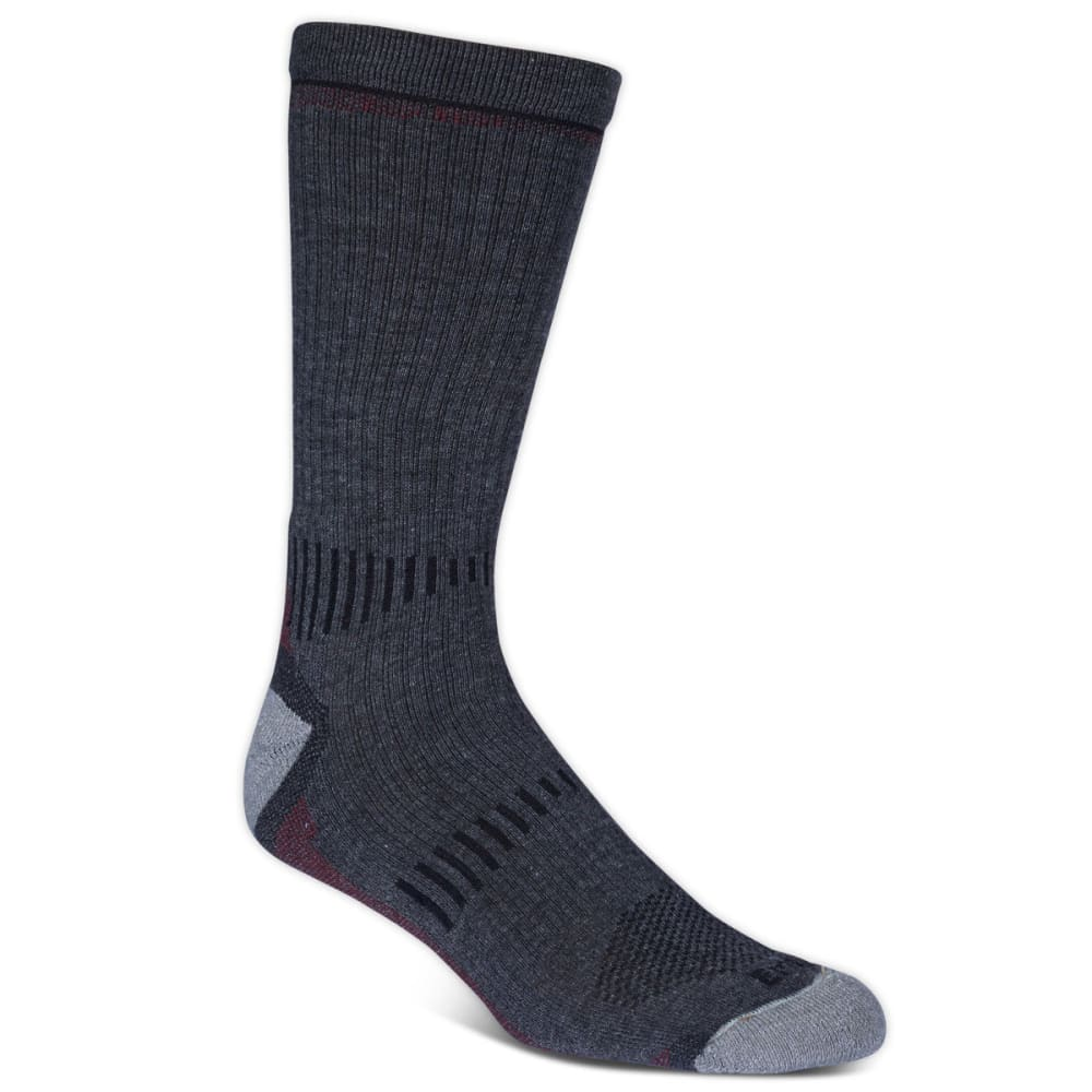 Ems(R) Men's Fast Mountain Lightweight Merino Wool Crew Socks, Charcoal  - Black, L
