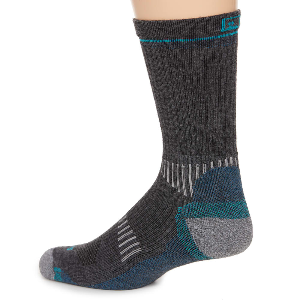 EMS Women's Fast Mountain Lightweight Merino Wool Crew Socks, Charcoal - CHARCOAL
