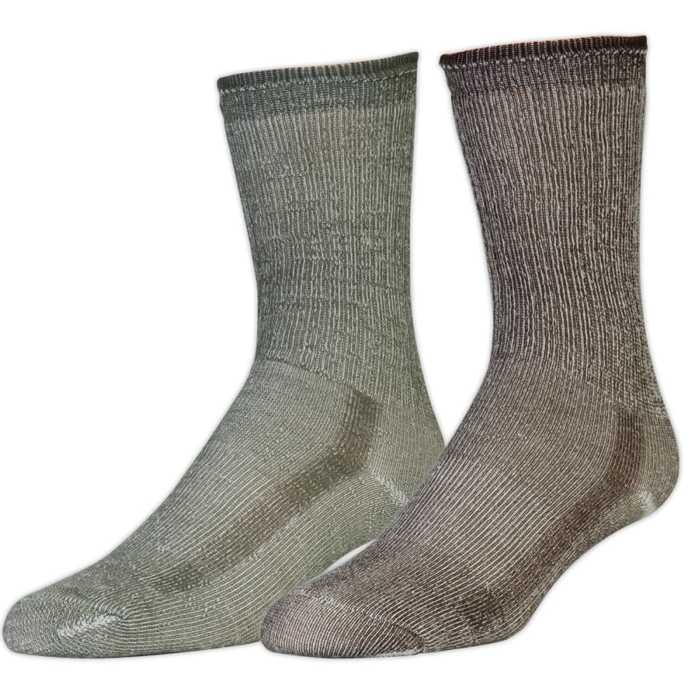 EMS Merino Wool Hiking Socks, 2-Pack - OLIVE/CHESTNUT