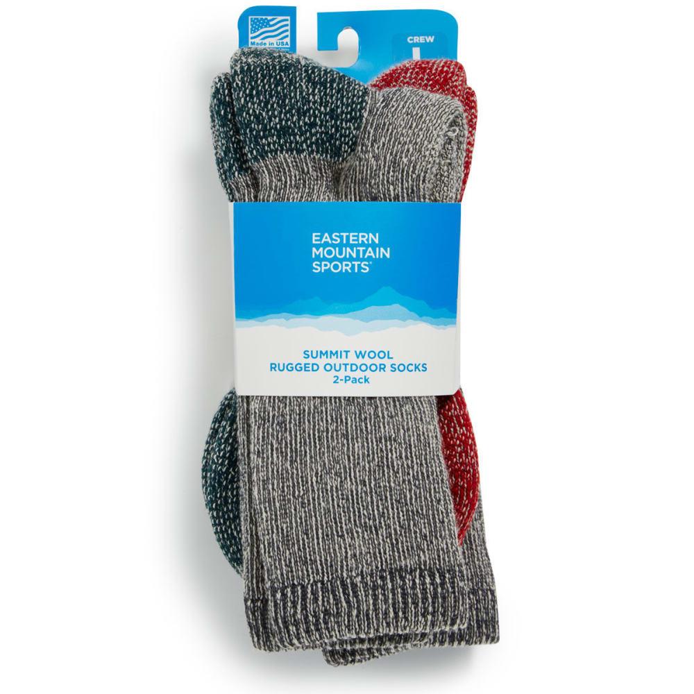 EMS Summit Wool Socks, 2 Pack - GREY/GREEN;GREY/RED