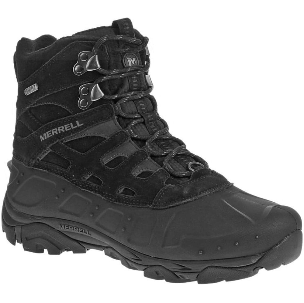 MERRELL Men's Moab Polar Waterproof Hiking Boots, Black - BLACK