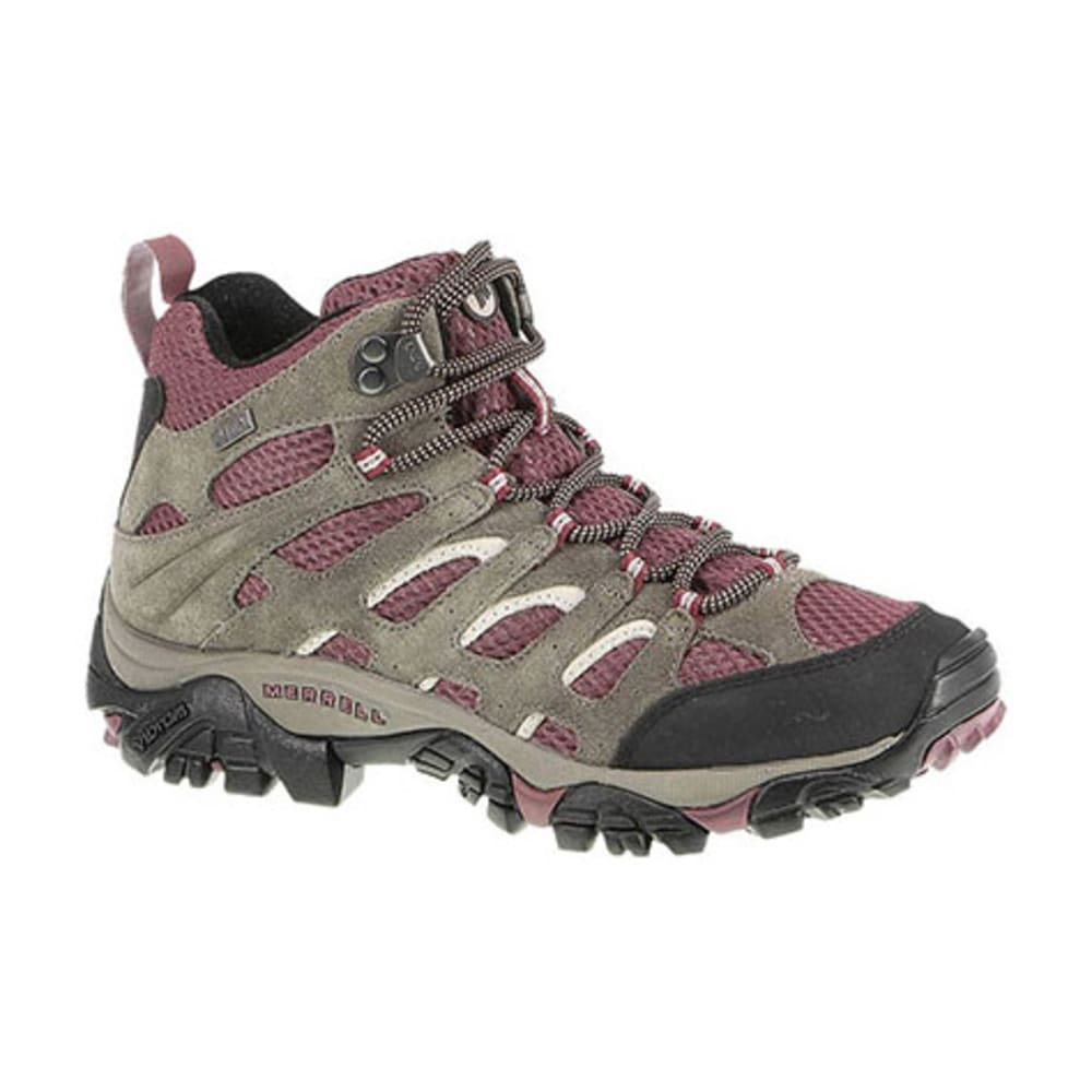 MERRELL Women's Moab Mid WP Hiking Boots, Boulder/Blush - BOULDER