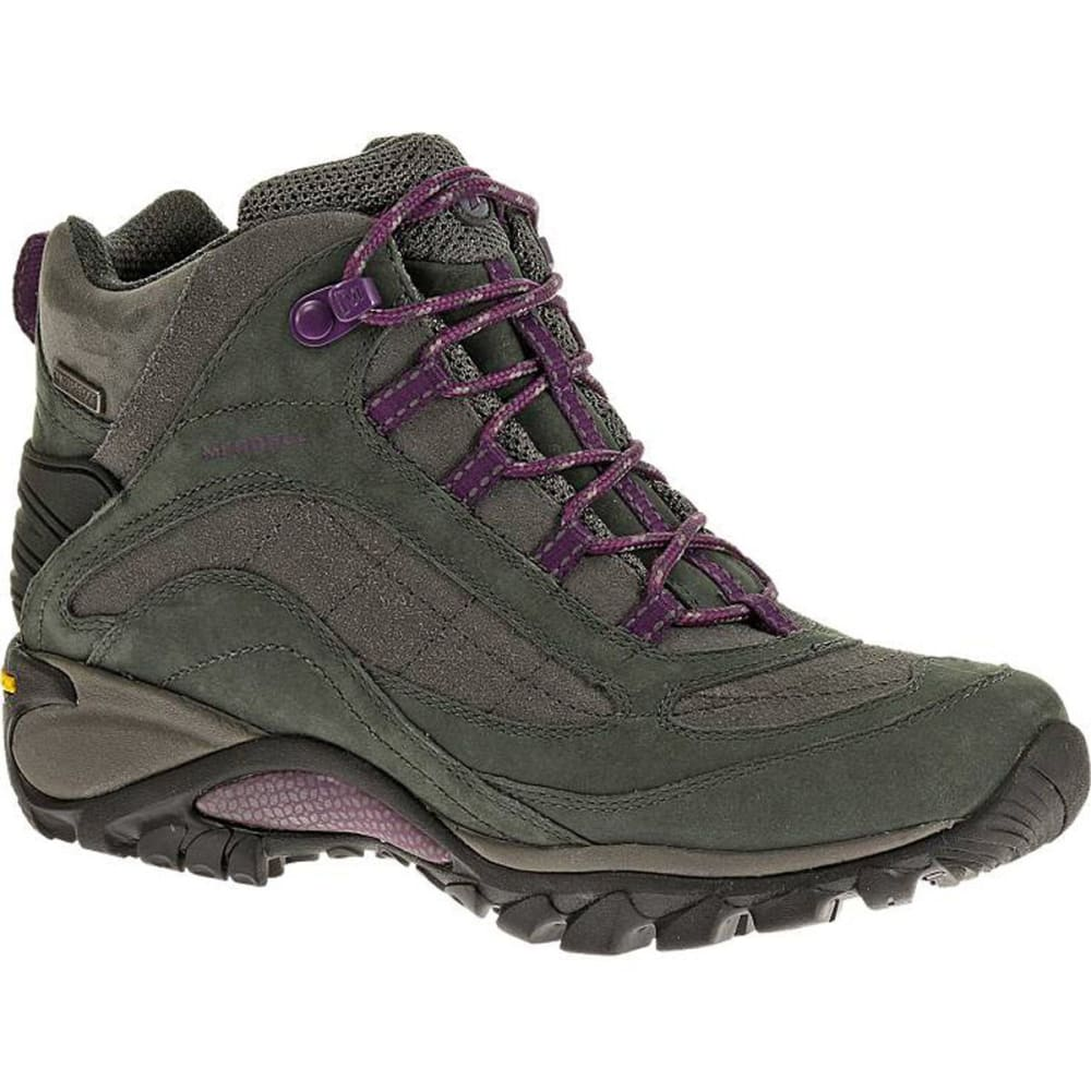MERRELL Women's Siren Mid Waterproof Hiking Boots, Granite/Purple - GRANITE/PURPLE