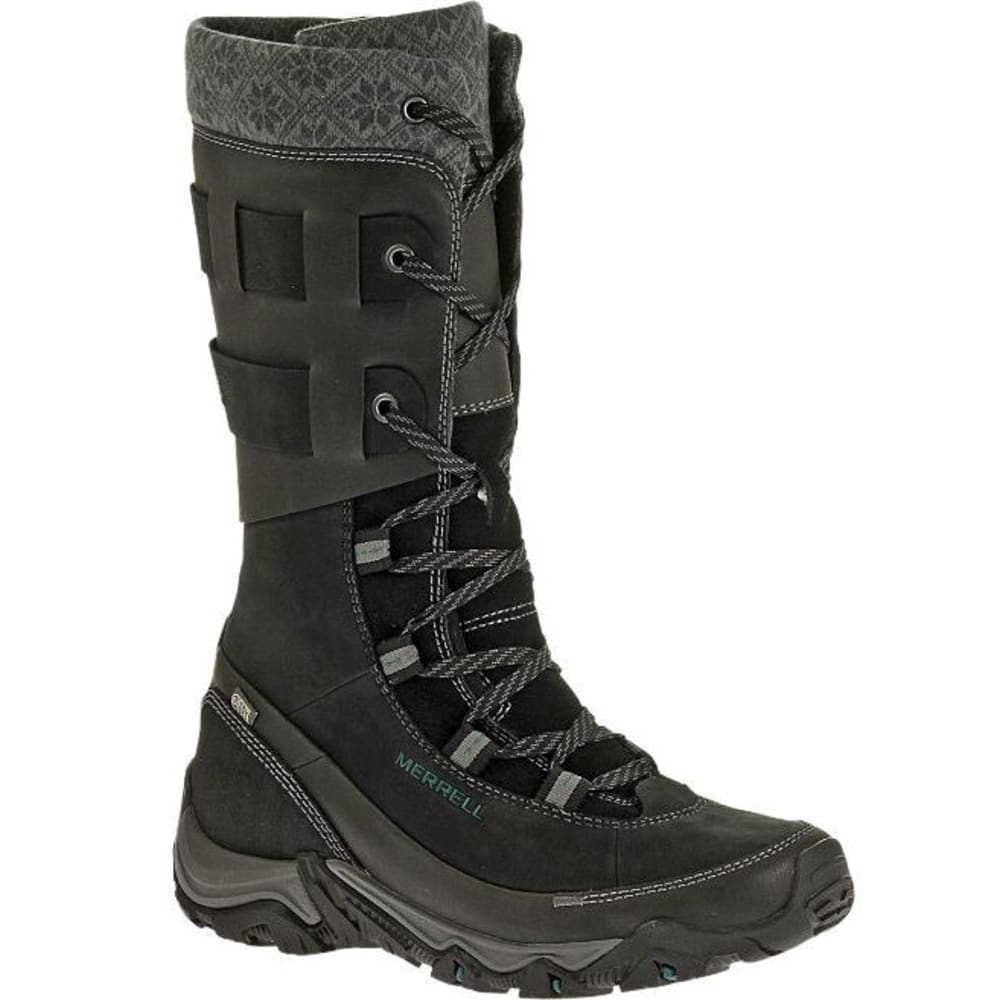 MERRELL Women's Polarand Rove Peak WP Winter Boots, Black - BLACK