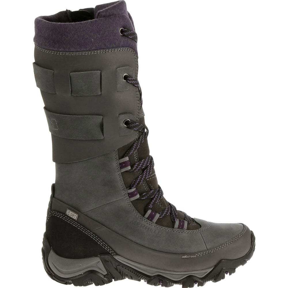 MERRELL Women's Polarand Rove Peak Waterproof Winter Boots - GRANITE