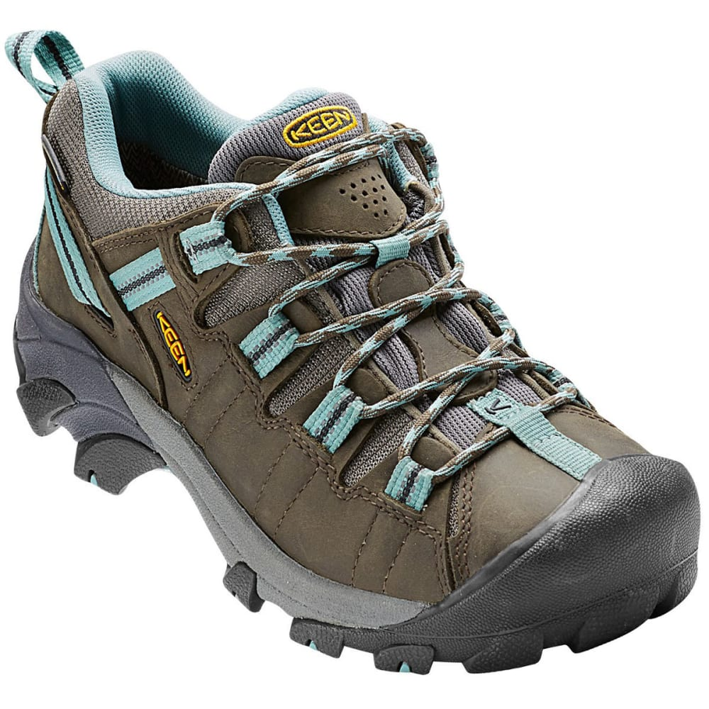 KEEN Women's Targhee II Waterproof Hiking Shoes, Black Olive/Mineral Blue 6