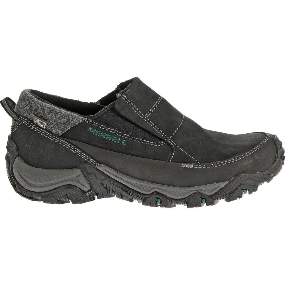 MERRELL Women's Polarand Rove Moc Waterproof Winter Shoes, Black - BLACK
