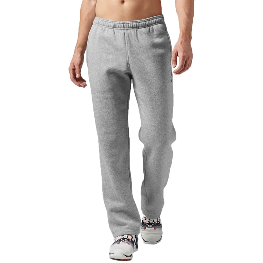 REEBOK Men's Elements Open Bottom Fleece Pants - MEDIUM GREY HEATHER