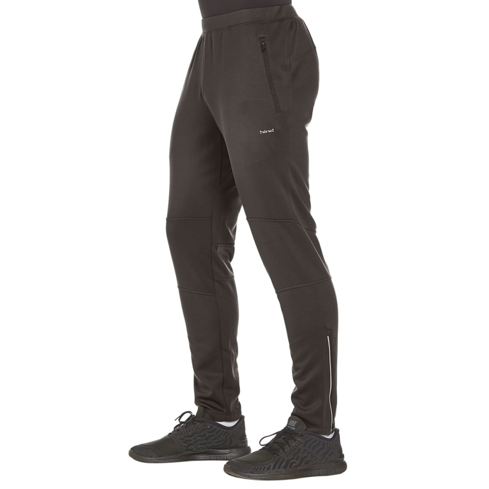 HIND Men's Slim Fit Brushed Running Pants - BLACK-RCB