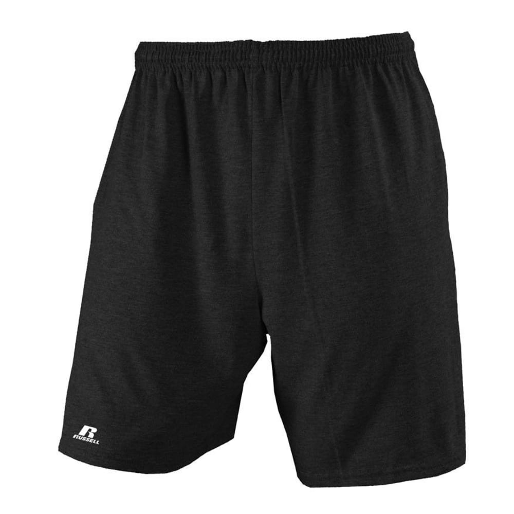 RUSSELL ATHLETIC Men's Basic Pocketed Jersey Shorts -   VALUE DEAL - BLACK-BLK