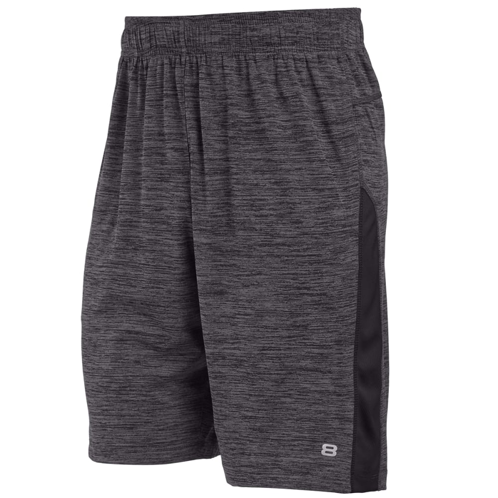 LAYER 8 Men's Heathered Training Shorts - GREYSTONE PRT-GYK