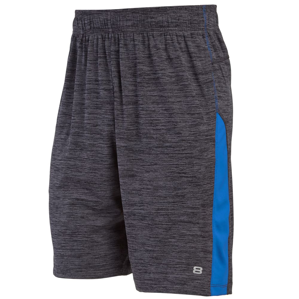 LAYER 8 Men's Heathered Training Shorts - GREY/BLUE-GZ