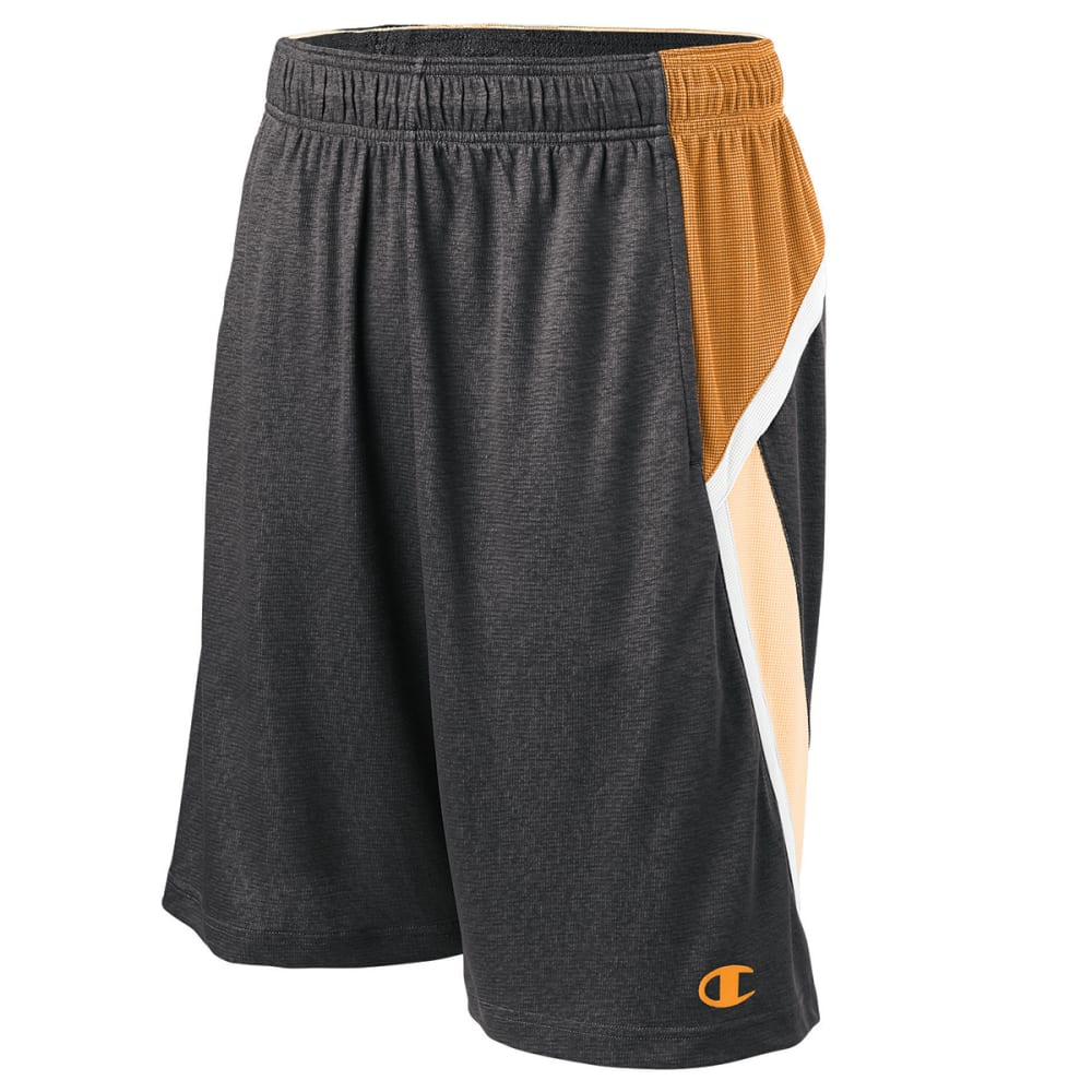 CHAMPION Men's Fast Break Shorts - STEALTH HTHR/ORG-RK5