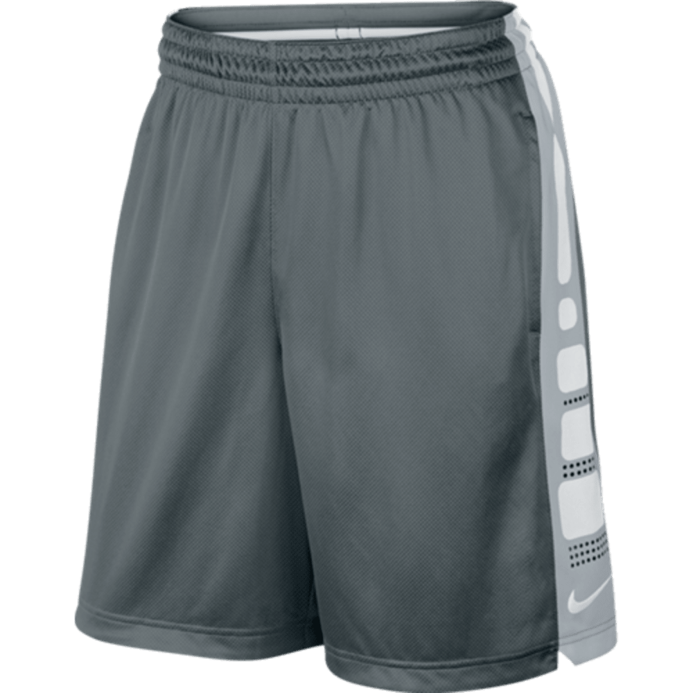 NIKE Men's Elite Basketball Shorts - GREY/WHITE/BLACK-066