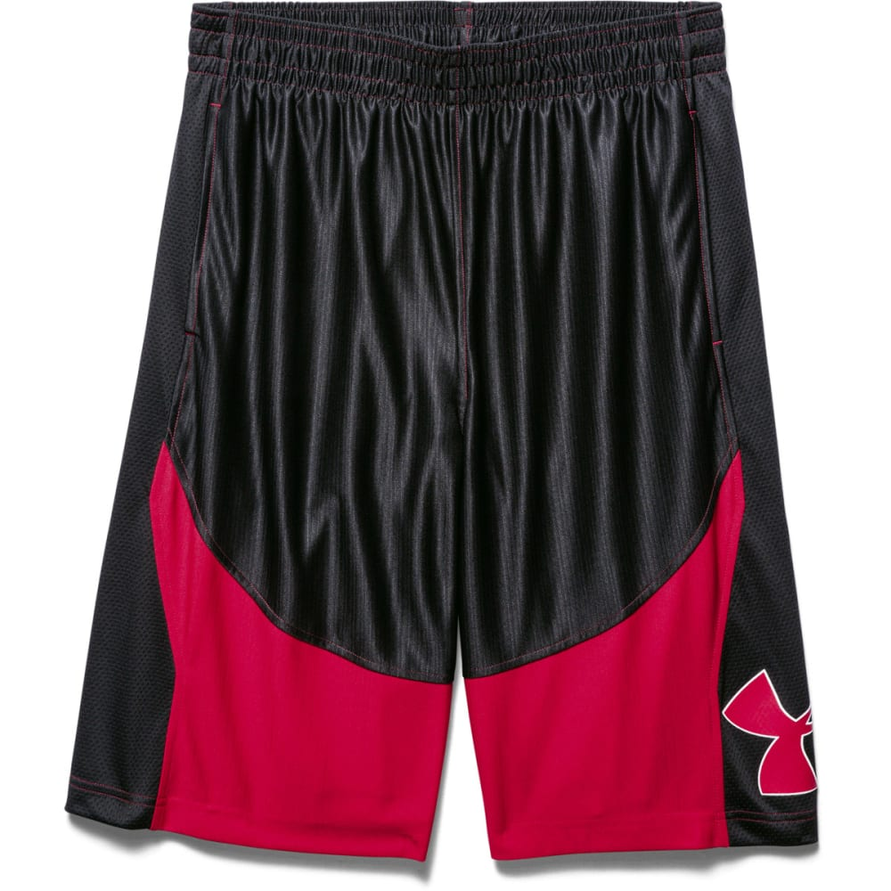 UNDER ARMOUR Men's Mo' Money Basketball Shorts - BLACK/RED-002