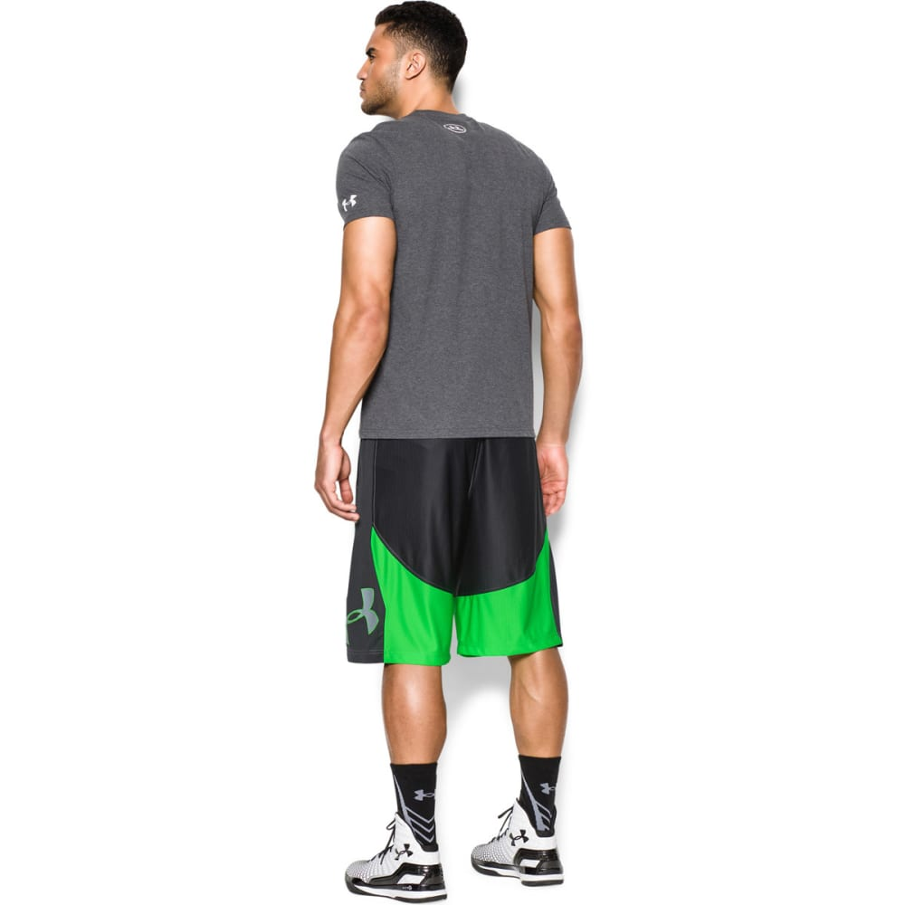 UNDER ARMOUR Men's Mo' Money Basketball Shorts - BLACK/GREEN ENERGY/S