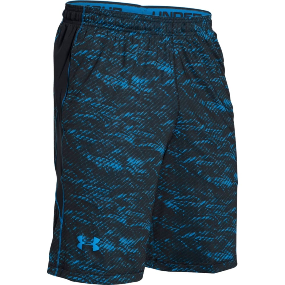 UNDER ARMOUR Men's Raid Printed Shorts - BLACK/BLUE-012