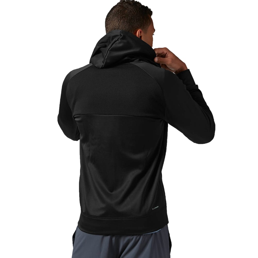 REEBOK Men's Workout Ready Poly Full Zip Fleece - BLACK