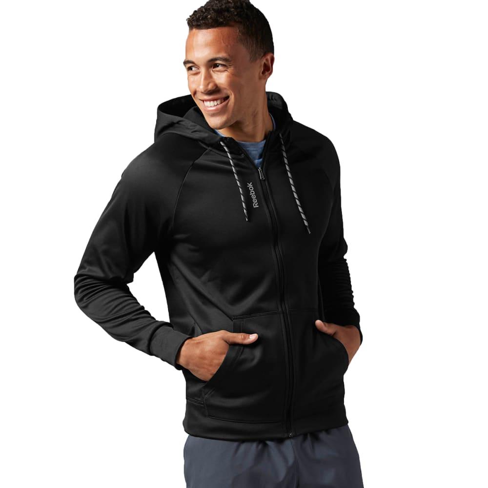 REEBOK Men's Workout Ready Poly Full Zip Fleece - BLACK