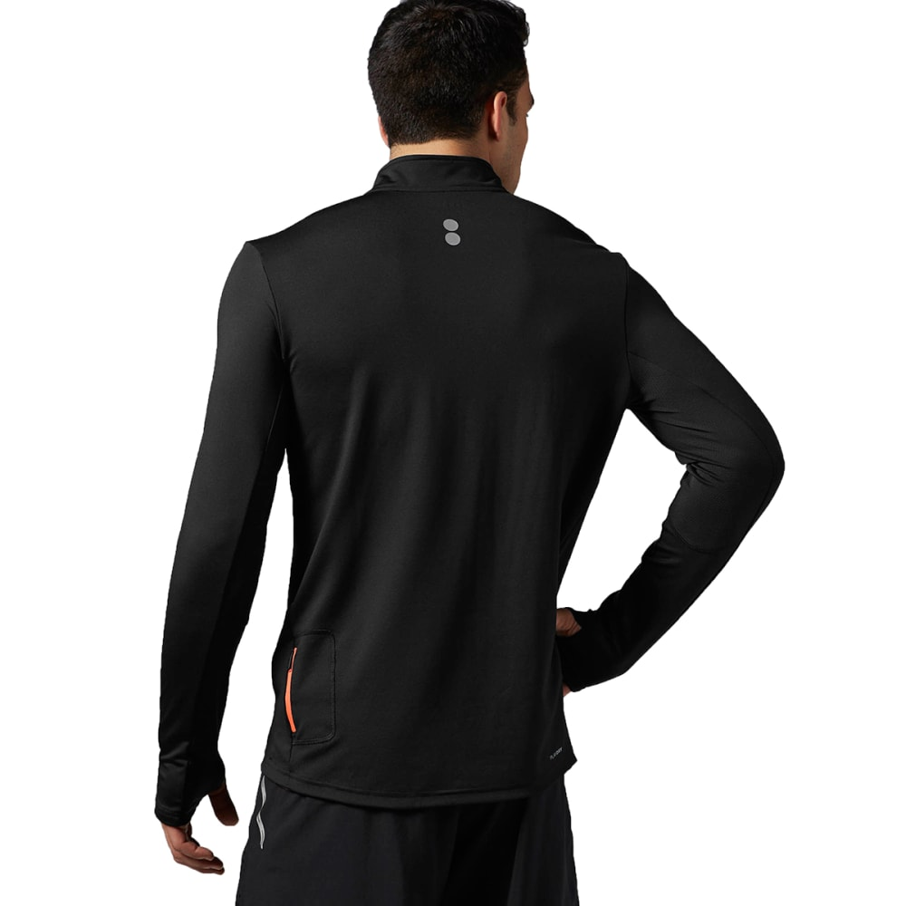 REEBOK Men's Running Essentials Long Sleeve 1/4 Zip - BLACK/NEON CHERRY