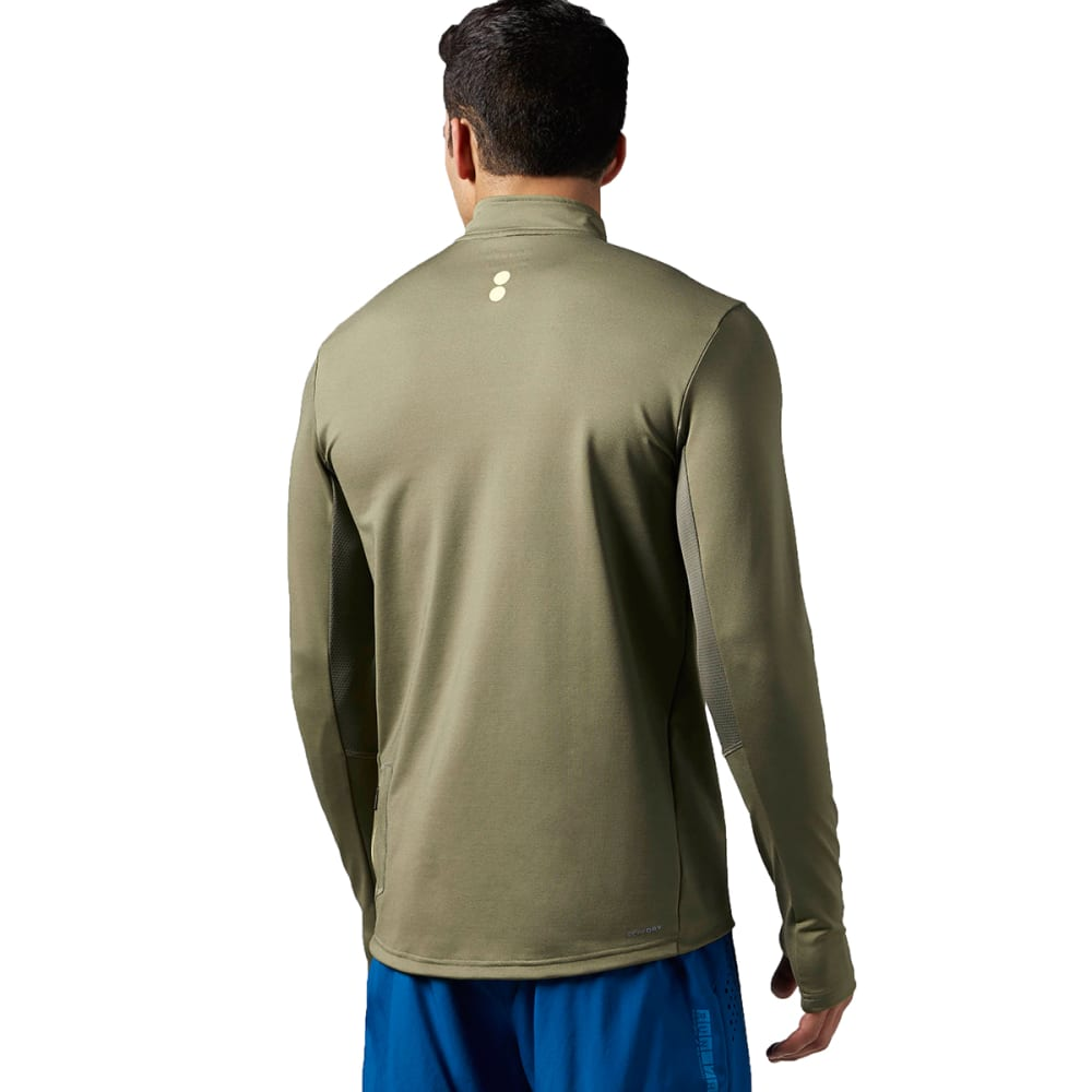 REEBOK Men's Running Essentials Long Sleeve 1/4 Zip - MODERN OLIVE