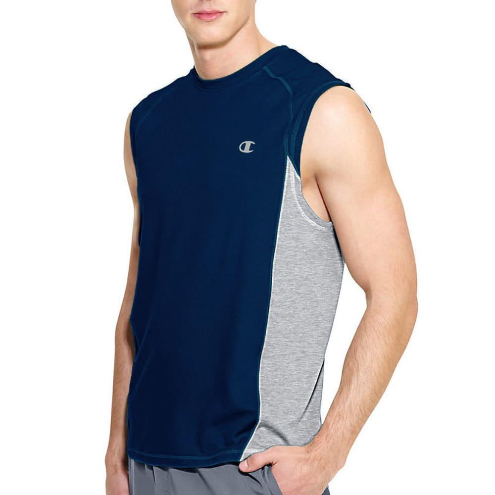 CHAMPION Men's Powertrain Muscle Tee - NAVY/OXFORD-B05