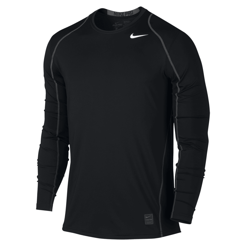 NIKE Men's Cool Fitted Long Sleeve Top - BLACK/DARK GREY-010