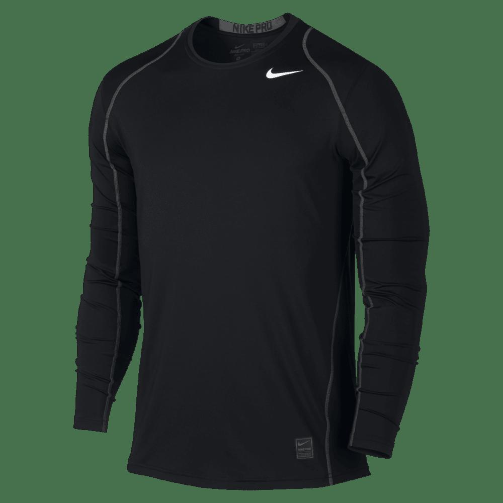 NIKE Men's Cool Fitted Long Sleeve Top - BLACK/DARK GREY-010