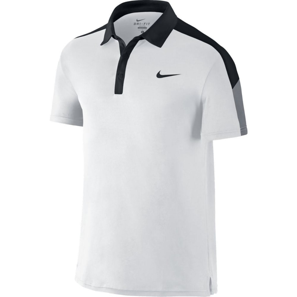NIKE Men's Team Court Tennis Polo Shirt - WHITE/BLK-100