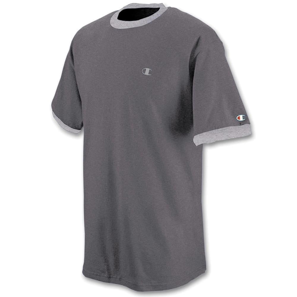 CHAMPION Men's Cotton Jersey Ringer Tee - GRANITE HEATHER-35B