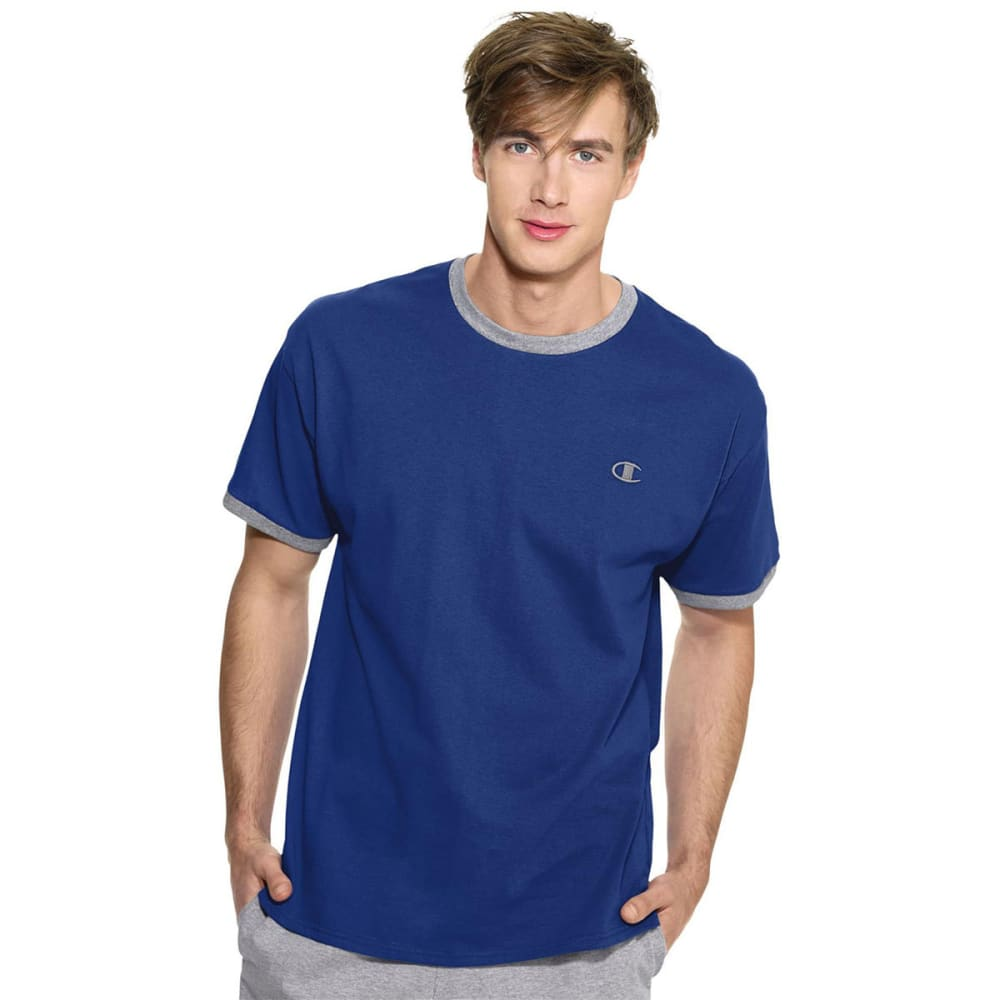 CHAMPION Men's Cotton Jersey Ringer Tee - SURF WEB HTHR-KOP