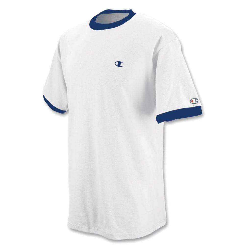 CHAMPION Men's Cotton Jersey Ringer Tee - WHITE/NAVY-081