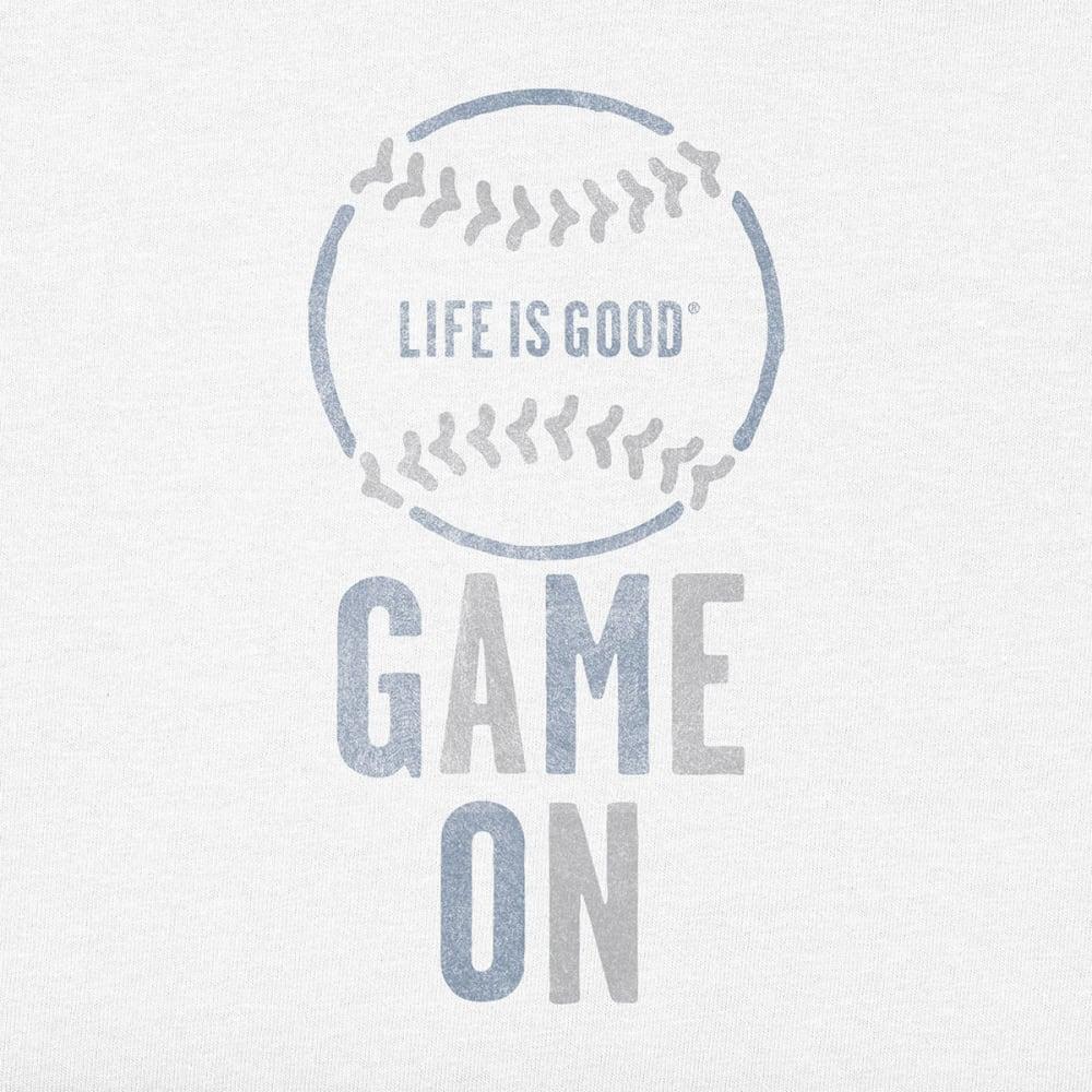 LIFE IS GOOD Men's Game On Baseball Crusher Tee - CLOUD WHT