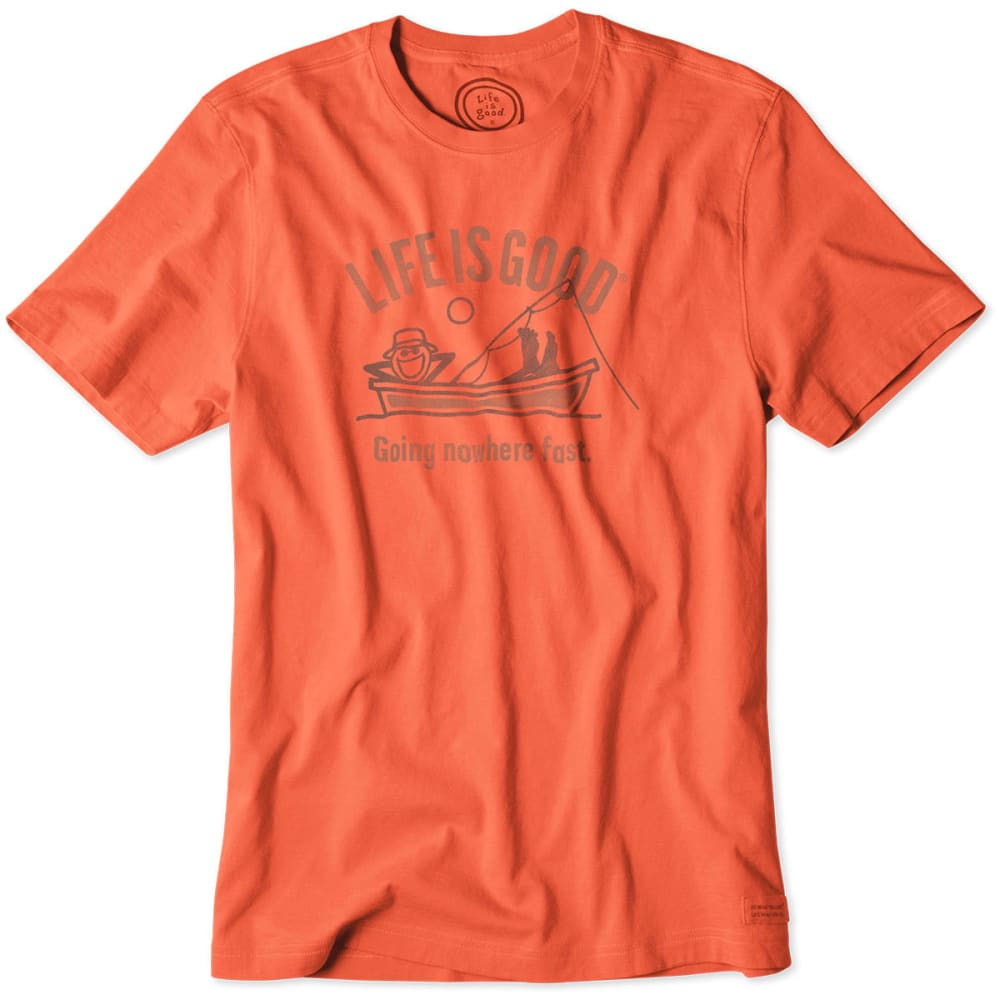 LIFE IS GOOD Men's Going Nowhere Fish Crusher Tee - SPCY ORNGE