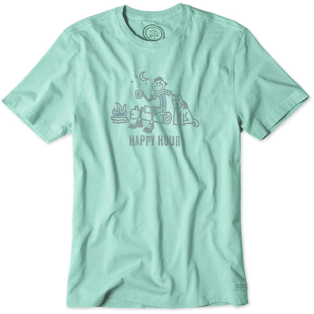 LIFE IS GOOD Men's Happy Hour Friends Crusher Tee - SOFT TEAL