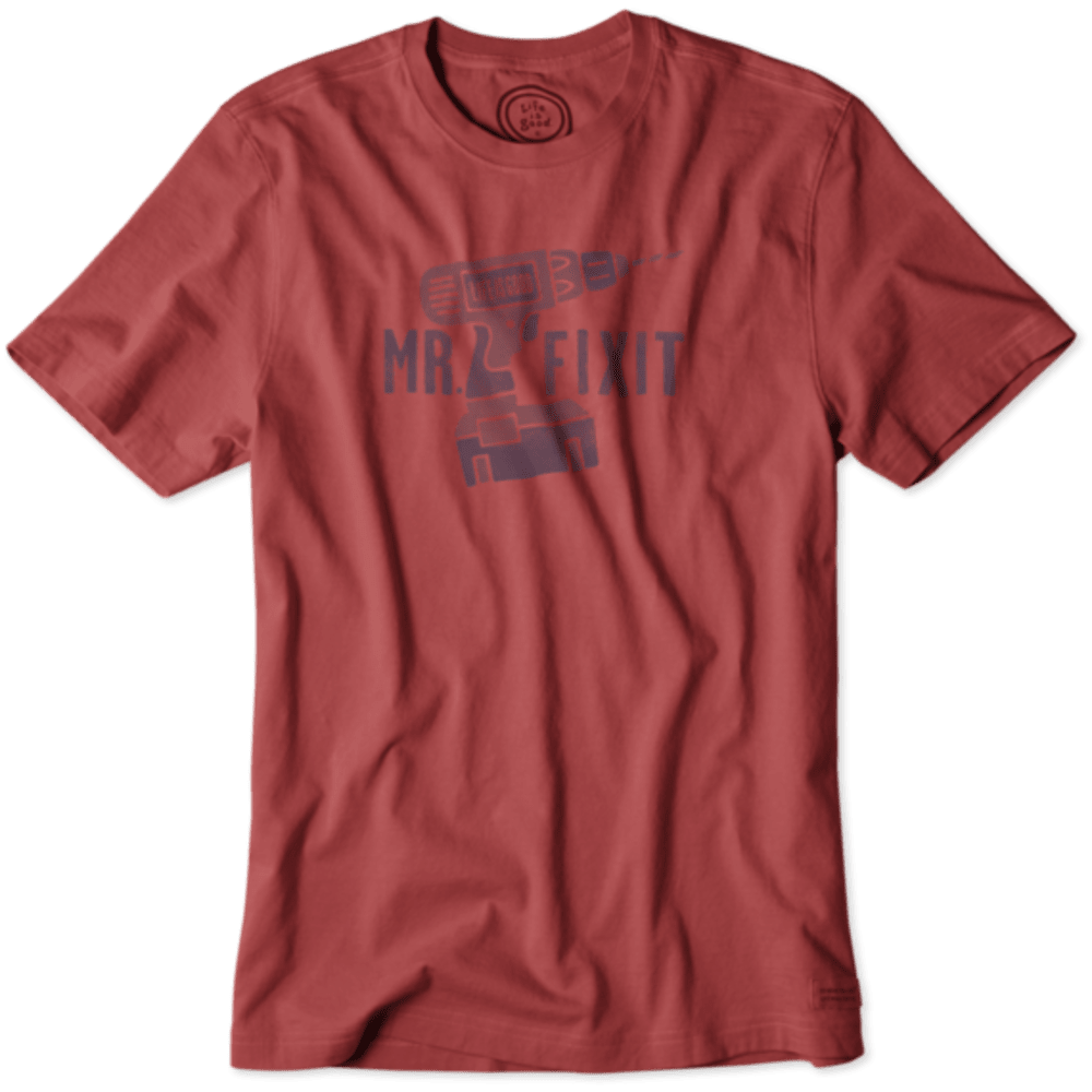 LIFE IS GOOD Men's Mr. Fix It Drill Crusher Tee - NNTCKT RED