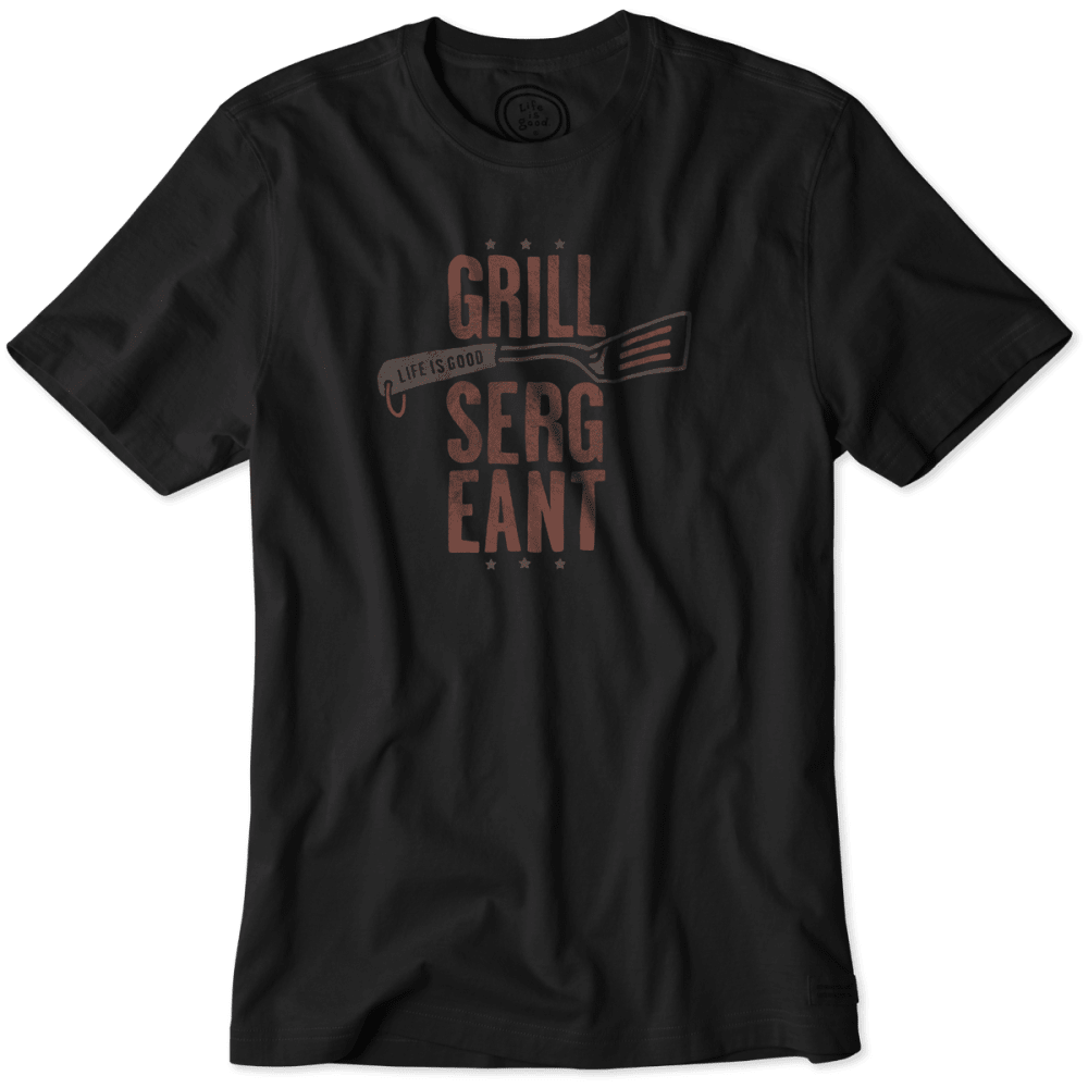 LIFE IS GOOD Men's Grill Sergeant Crusher Tee - NIGHT BLK