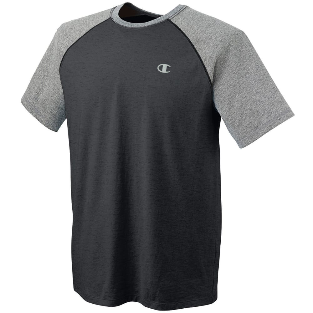 Champion Men's Raglan Vapor Cotton Tee - Black, M