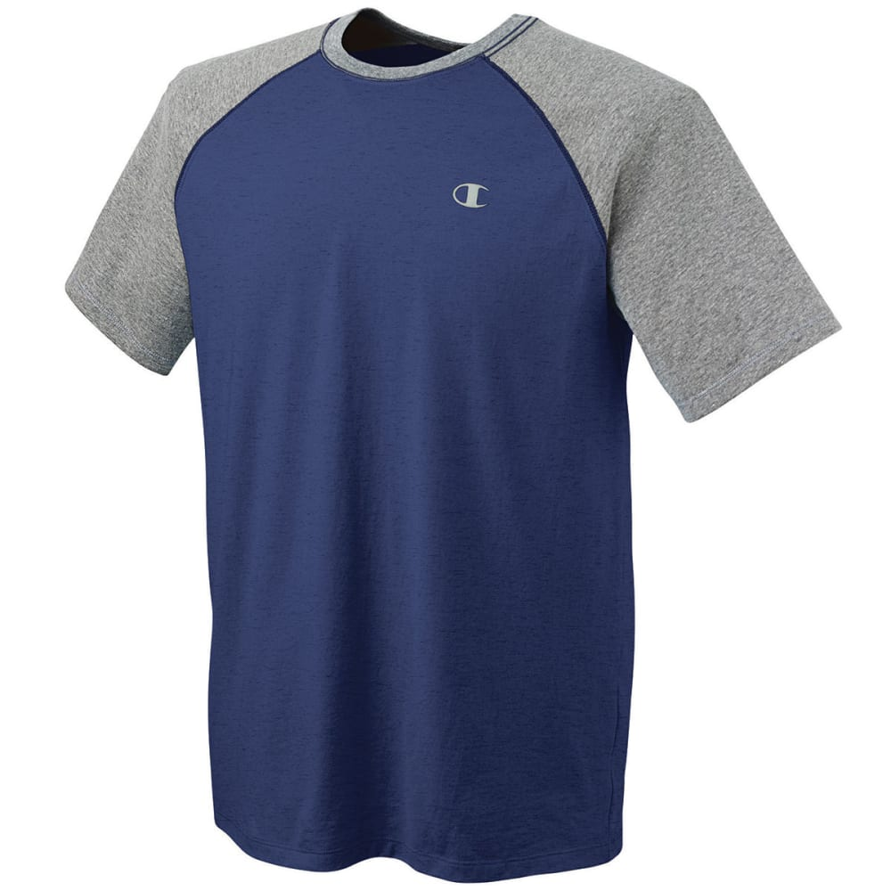 CHAMPION Men's Raglan Vapor Cotton Tee - NAVY/OXFORD-9Z2