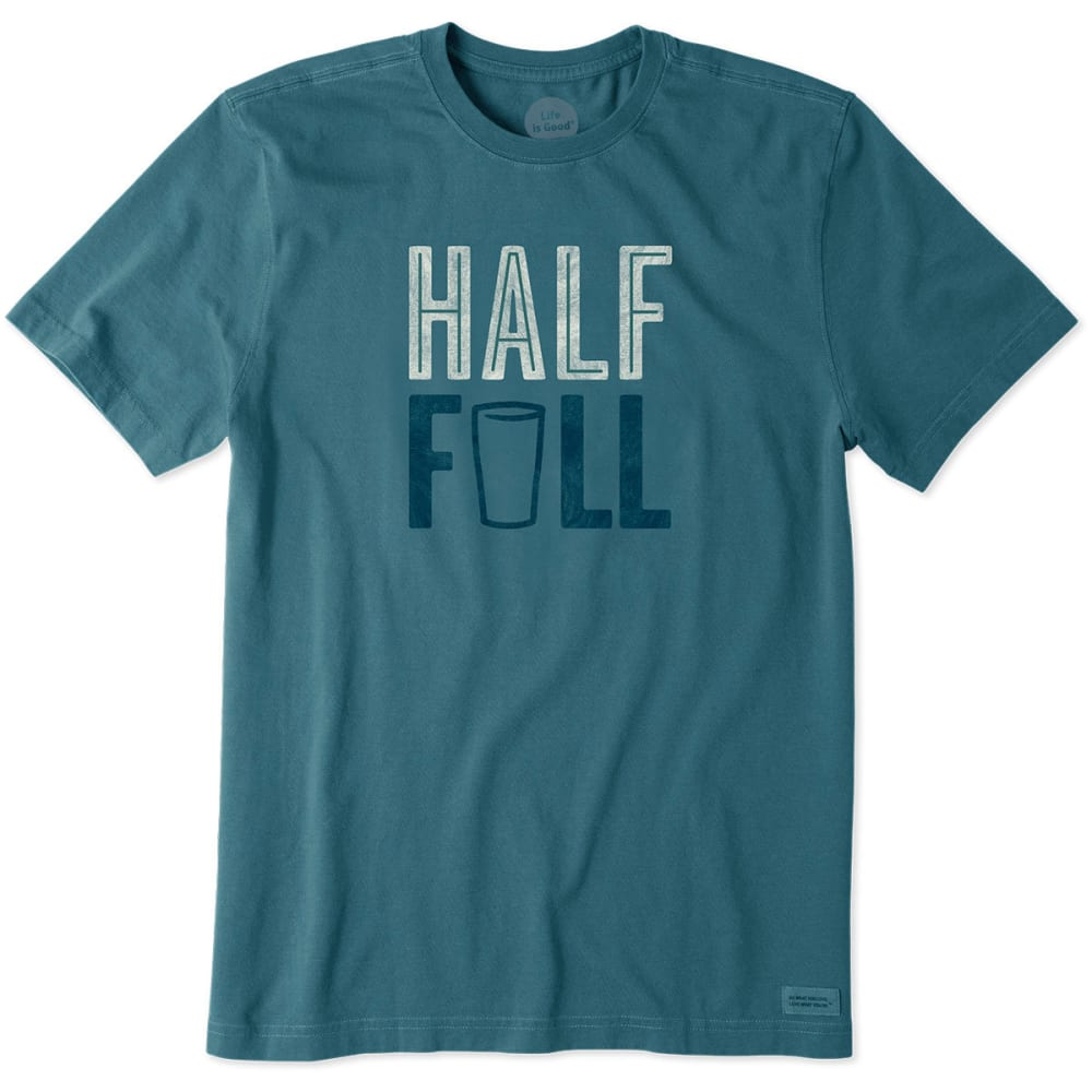 LIFE IS GOOD Men's Half-Full Crusher Tee - PACIFIC BLUE